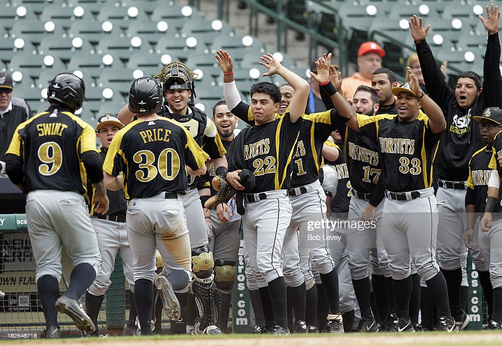 Dexter Price #30 of Alabama State is welcomed at this bench after hitting a home run during the 2013 Urban Invitational, February 24, 2013 in Houston, Texas.