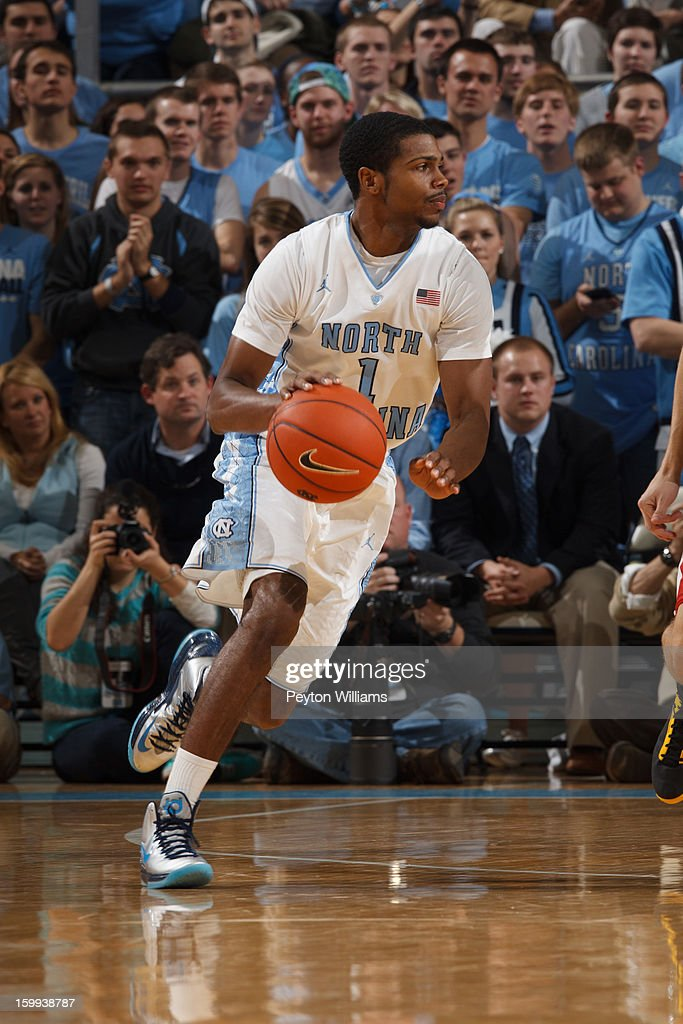 Dexter Strickland #1 of the North Carolina Tar Heels dribbles the ball during a game against the Maryland Terrapins on January 19, 2013 at the Dean E. Smith Center in Chapel Hill, North Carolina. North Carolina won 52-62.
