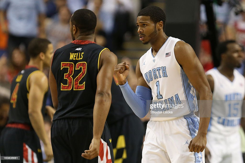 Dexter Strickland #1 of the North Carolina Tar Heels reacts in the first half while taking on the Maryland Terrapins during the men's ACC Tournament semifinals at Greensboro Coliseum on March 16, 2013 in Greensboro, North Carolina.