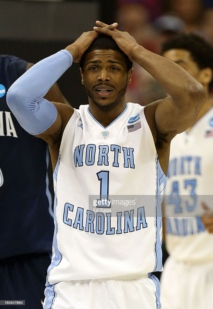 Dexter Strickland #1 of the North Carolina Tar Heels reacts in the second half against the Villanova Wildcats during the second round of the 2013 NCAA Men's Basketball Tournament at the Sprint Center on March 22, 2013 in Kansas City, Missouri.