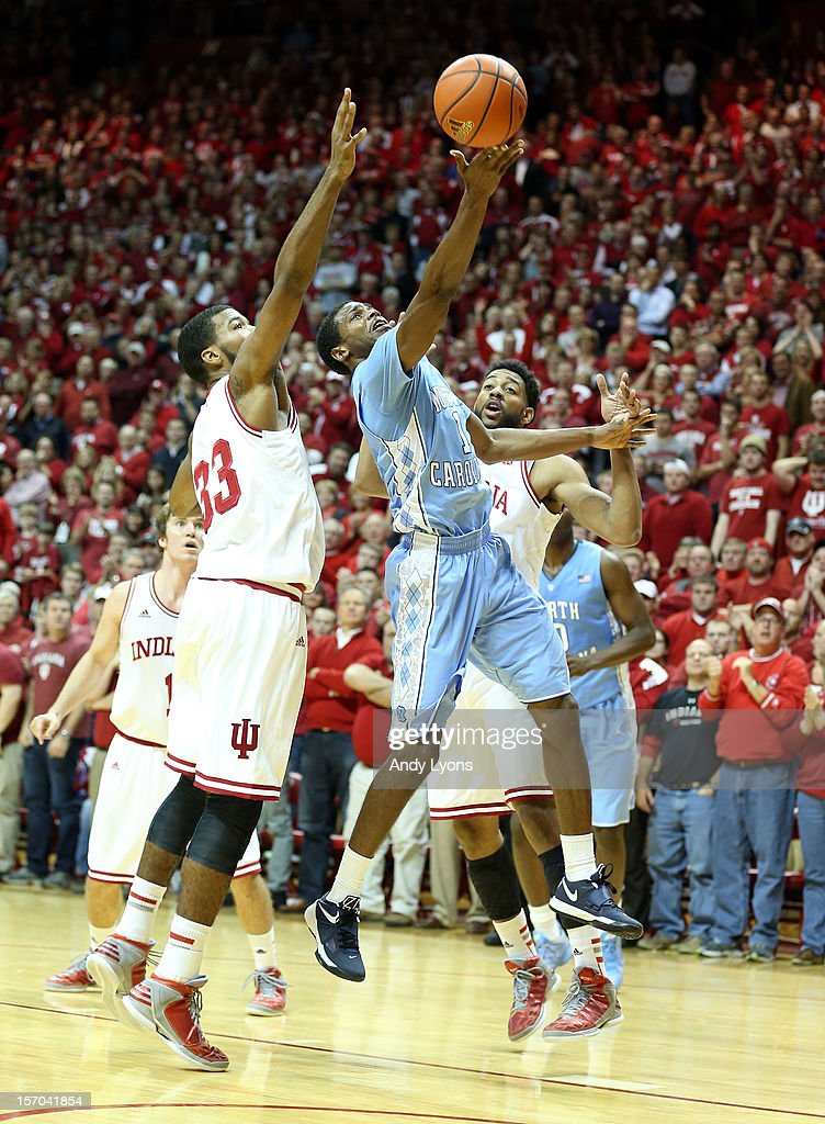 Dexter Strickland#1 of the North Carolina Tar Heels shoots the ball during the game against the Indiana Hoosiers at Assembly Hall on November 27, 2012 in Bloomington, Indiana.