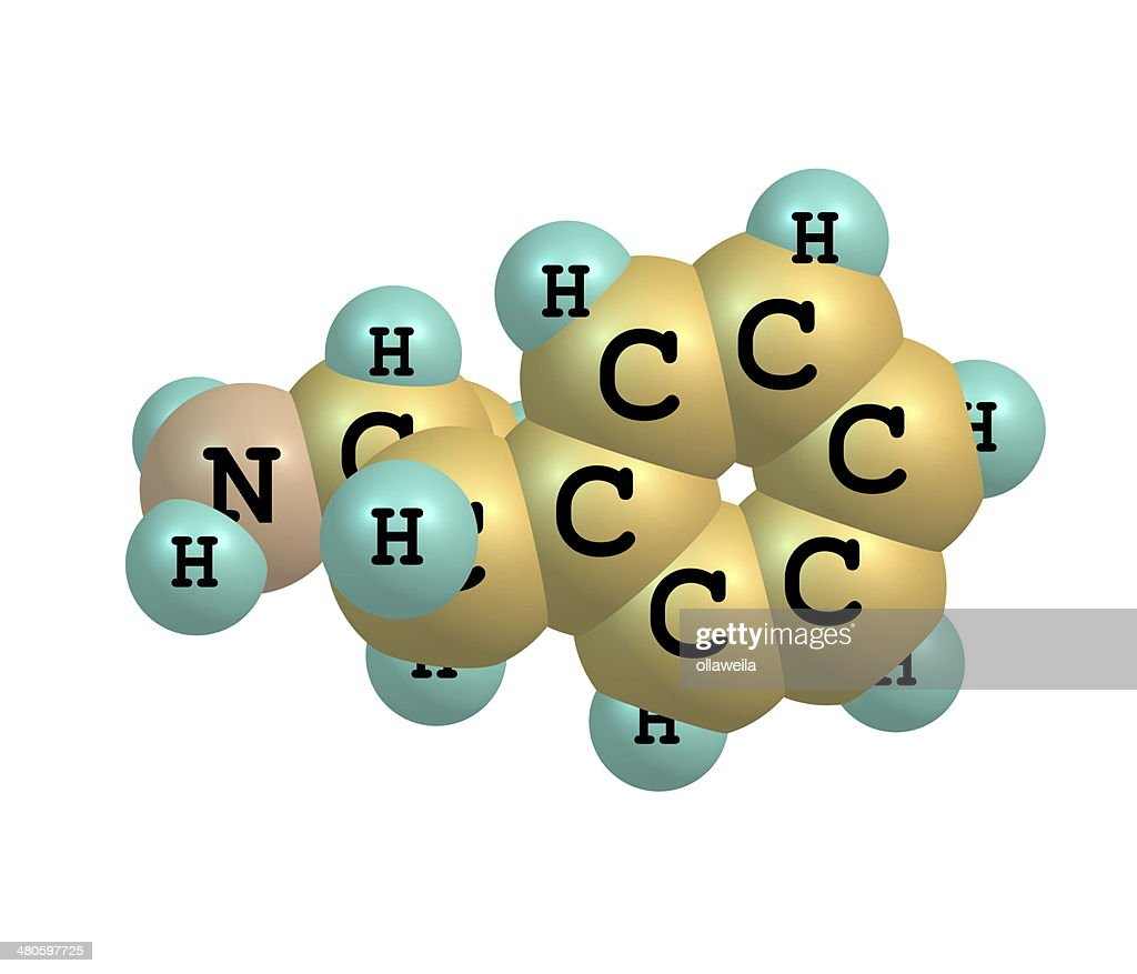 Dextroamphetamine (dexamphetamine) molecular structure on white : Stock Photo