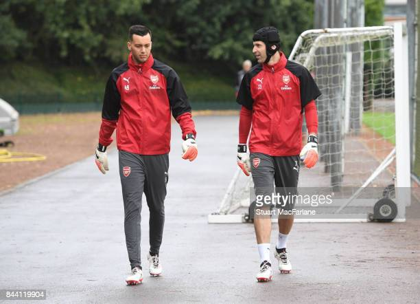 Deyan Iliev and Petr Cech of Arsenal before a training session at London Colney on September 8 2017 in St Albans England