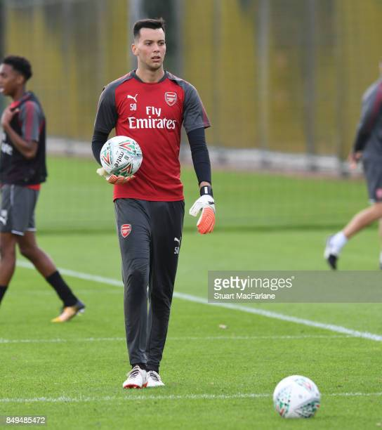 Deyan Iliev of Arsenal during a training session at London Colney on September 19 2017 in St Albans England