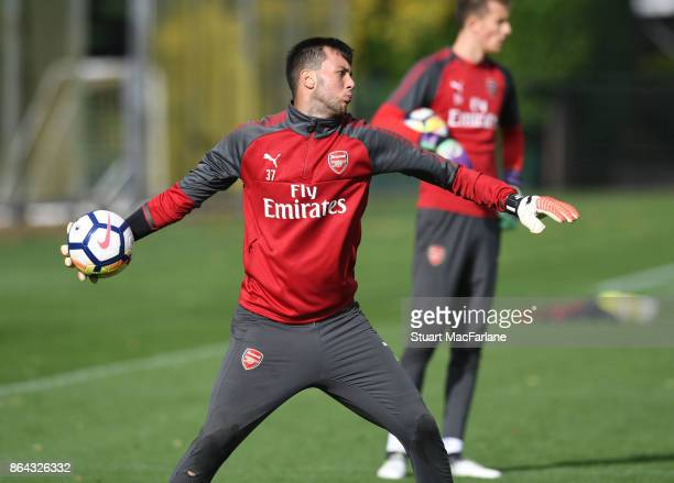 Deyan Iliev of Arsenal during a training session at London Colney on October 21 2017 in St Albans England