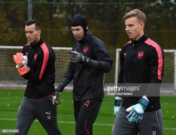Deyan Iliev Petr Cech and Hugo Keto of Arsenal during a training session at London Colney on October 18 2017 in St Albans England