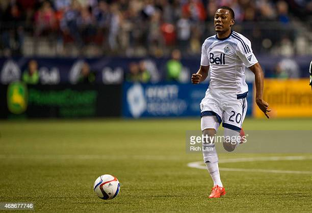 Deybi Flores of the Vancouver Whitecaps FC chases down a loose ball in MLS action against the Portland Timbers on March 28 2015 at BC Place Stadium...
