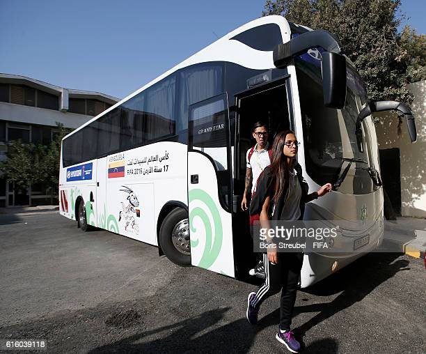 Deyna Castellanos of Venezuela arrives with the bus prior to the FIFA U17 Women's World Cup Third Place Play Off match between Venezuela and Spain at...