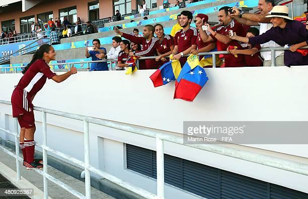 Deyna Castellanos of Venezuela celebrate after the FIFA U17 Women's World Cup 2014 quarter final match between Venezuela and Canada at Estadio...