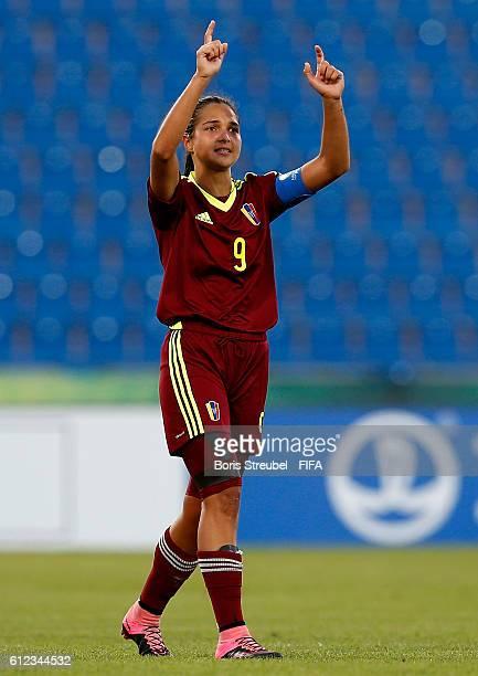 Deyna Castellanos of Venezuela celebrates after scoring her team's second goal during the FIFA U17 Women's World Cup Group B match between Venezuela...