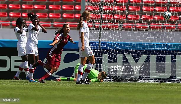Deyna Castellanos of Venezuela celebrates after scoring the openng goal during the FIFA U17 Women's World Cup 2014 quarter final match between...