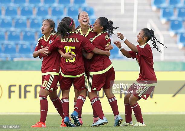 Deyna Castellanos of Venezuela celebrates her team's first goal with team mates during the FIFA U17 Women's World Cup Quarter Final match between...