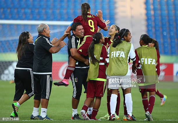 Deyna Castellanos of Venezuela celebrates scoring the winning goal with her team mates after the FIFA U17 Women's World Cup Jordan 2016 Group B match...