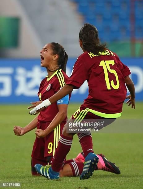Deyna Castellanos of Venezuela celebrates scoring the winning goal during the FIFA U17 Women's World Cup Jordan 2016 Group B match between Venezuela...