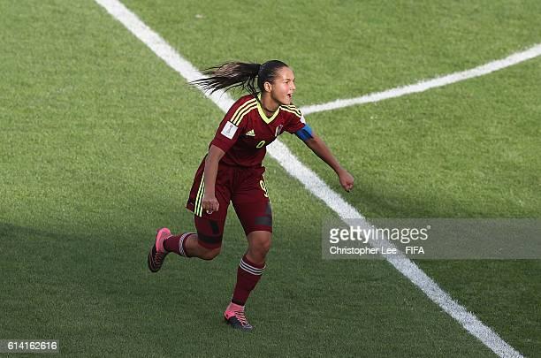 Deyna Castellanos of Venezuela celebrates scoring their first goal during the FIFA U17 Women's World Cup Jordan 2016 Quarter Final match between...
