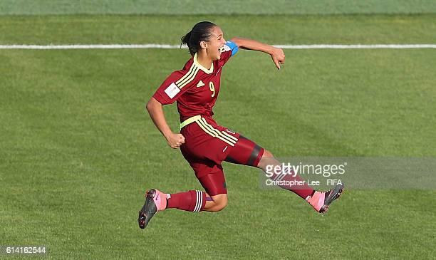 Deyna Castellanos of Venezuela celebrates scoring their second goal during the FIFA U17 Women's World Cup Jordan 2016 Quarter Final match between...