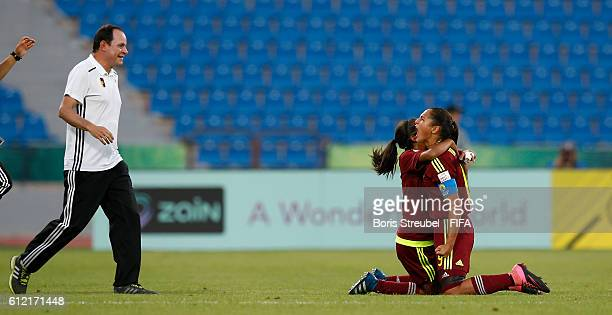 Deyna Castellanos of Venezuela celebrates with Head coach Kenneth Zseremeta after scoring her team's second goal during the FIFA U17 Women's World...