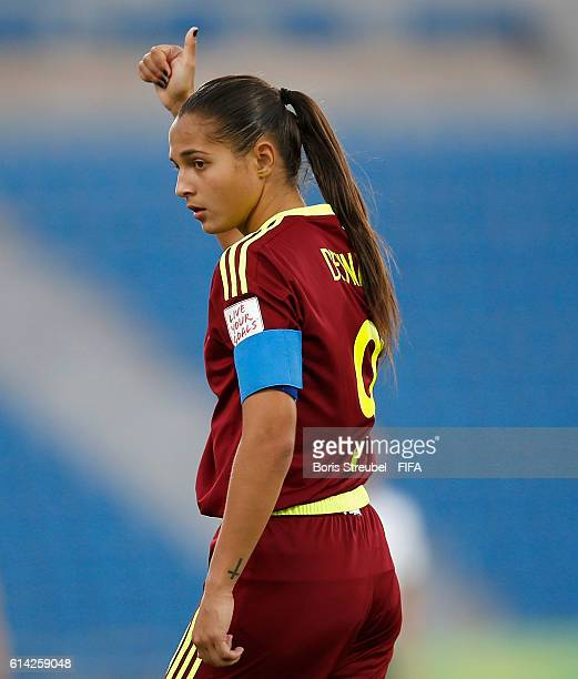 Deyna Castellanos of Venezuela gestures during the FIFA U17 Women's World Cup Quarter Final match between Mexico and Venezuela at Amman International...