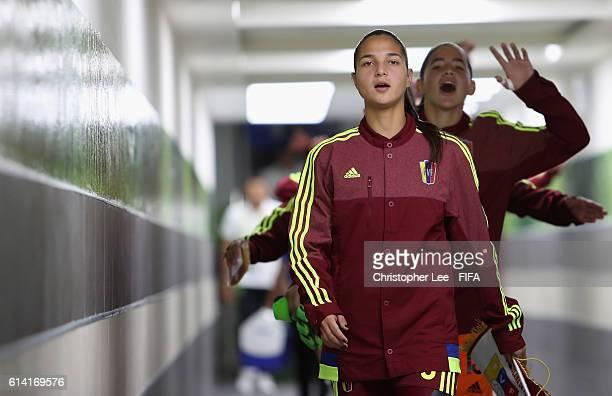 Deyna Castellanos of Venezuela leads her team down the tunnel as the team sing during the FIFA U17 Women's World Cup Jordan 2016 Quarter Final match...