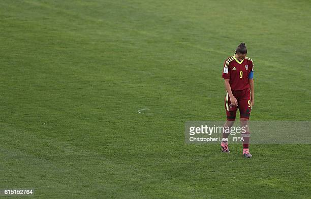Deyna Castellanos of Venezuela looks dejected after they lose during the FIFA U17 Women's World Cup Jordan 2016 Semi Final match between Venezuela...