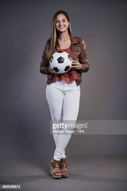 Deyna Castellanos of Venezuela poses prior to The Best FIFA Football Awards at The May Fair Hotel on October 22 2017 in London England