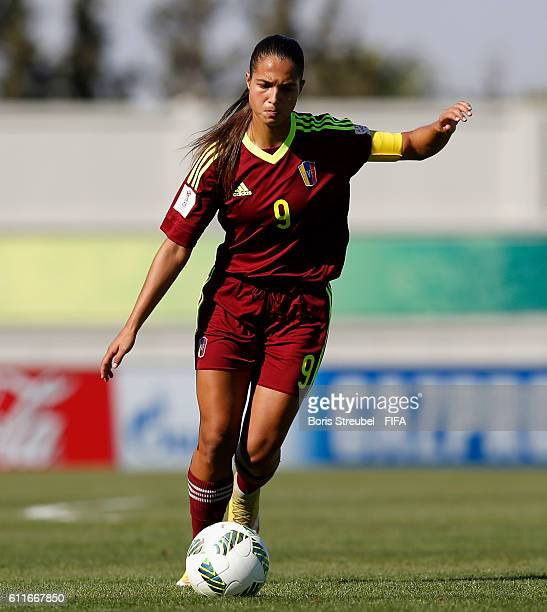 Deyna Castellanos of Venezuela runs with the ball during the FIFA U17 Women's World Cup Group B match between Venezuela and Germany at Al Hassan...