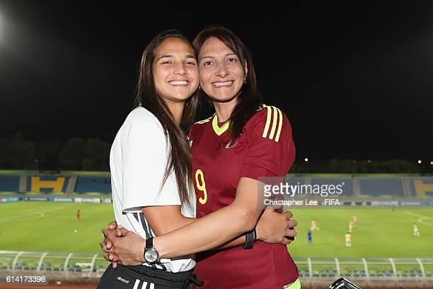 Deyna Castellanos of Venezuela with her mum Yrene Naujenis during the FIFA U17 Women's World Cup Jordan 2016 Quarter Final match between Mexico and...