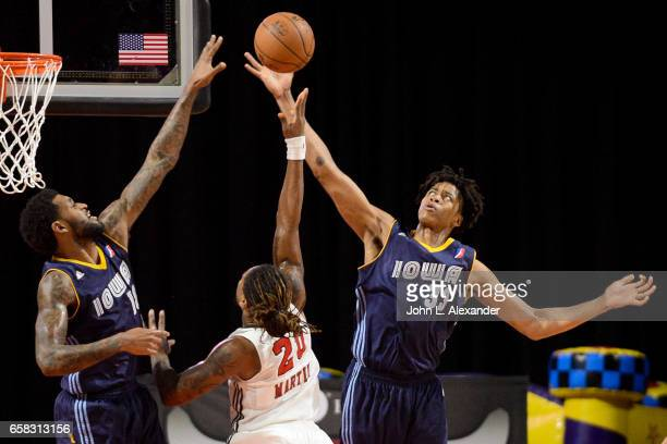 Deyonta Davis of the Iowa Energy grabs the rebound against the Windy City Bulls on March 23 2017 at the Sears Centre Arena in Hoffman Estates...