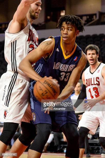 Deyonta Davis of the Iowa Energy looks to pass the ball against the Windy City Bulls on March 23 2017 at the Sears Centre Arena in Hoffman Estates...