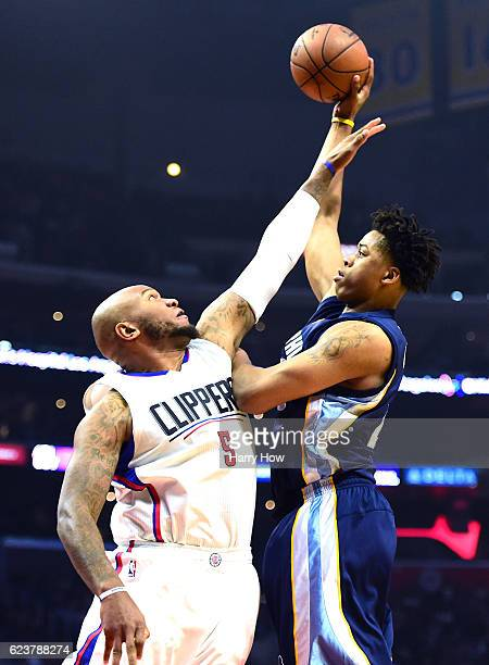 Deyonta Davis of the Memphis Grizzlies attempts a shot on Marreese Speights of the LA Clippers during the first half at Staples Center on November 16...