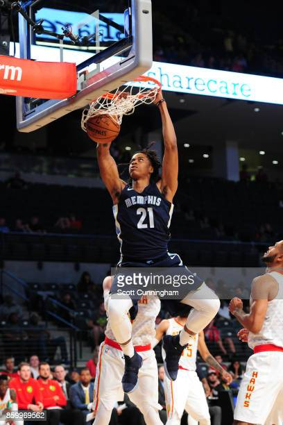 Deyonta Davis of the Memphis Grizzlies dunks during the 201718 NBA preseason game against the Atlanta Hawks on October 9 2017 at McCamish Pavilion in...