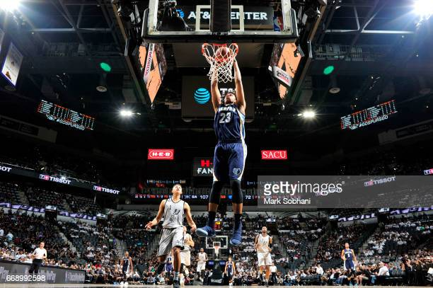 Deyonta Davis of the Memphis Grizzlies goes to the basket against the San Antonio Spurs in Game One of Round One during the 2017 NBA Playoffs on...