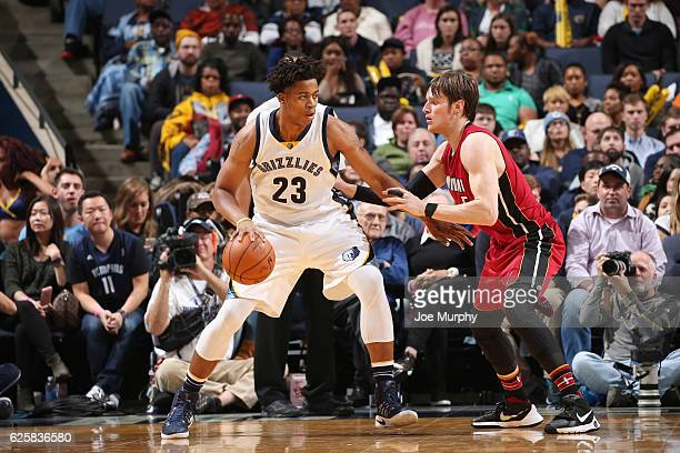 Deyonta Davis of the Memphis Grizzlies handles the ball against Luke Babbitt of the Miami Heat during the game on November 25 2016 at FedExForum in...