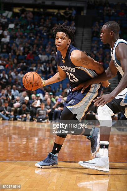 Deyonta Davis of the Memphis Grizzlies handles the ball against the Minnesota Timberwolves on November 1 2016 at Target Center in Minneapolis...