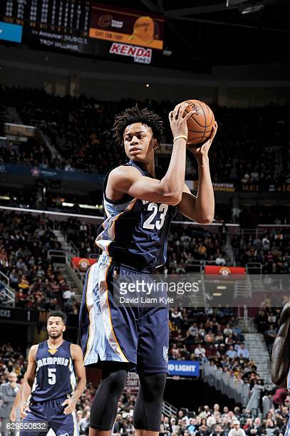 Deyonta Davis of the Memphis Grizzlies handles the ball against the Cleveland Cavaliers during the game on December 13 2016 at Quicken Loans Arena in...