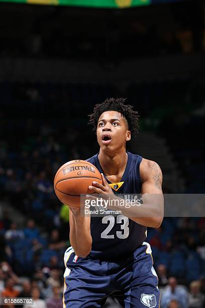 Deyonta Davis of the Memphis Grizzlies shoots a free throw against the Minnesota Timberwolves on October 19 2016 at Target Center in Minneapolis...