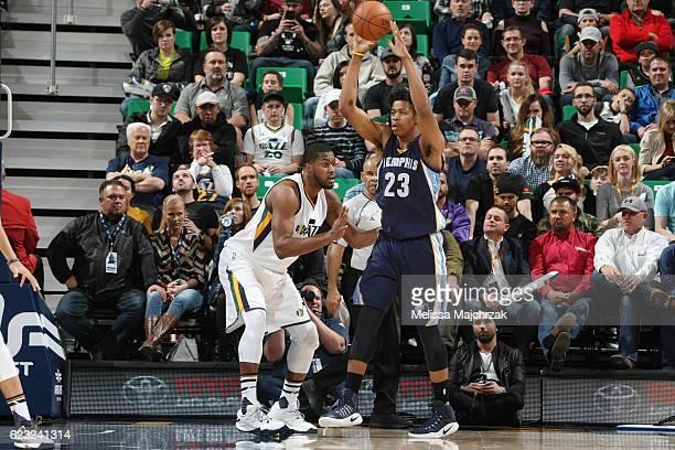 Deyonta Davis of the Memphis Grizzlies shoots the ball against the Utah Jazz on November 14 2016 at vivintSmartHome Arena in Salt Lake City Utah NOTE...