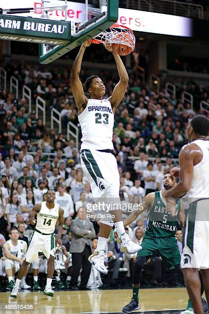 Deyonta Davis of the Michigan State Spartans dunks the ball against the Eastern Michigan Eagles in the second half at the Breslin Center on November...