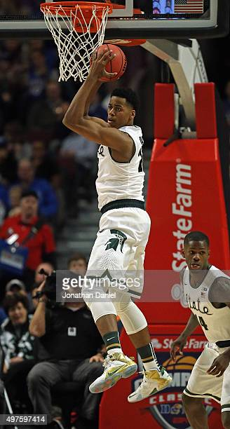 Deyonta Davis of the Michigan State Spartans rebounds against the Kansas Jayhawks during the Champions Classic at the United Center on November 17...