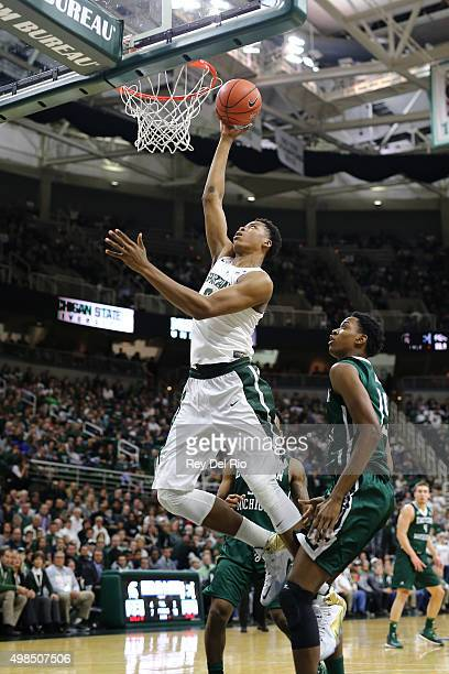 Deyonta Davis of the Michigan State Spartans shoots a layup against Eastern Michigan Eagles in the first half at the Breslin Center on November 23...
