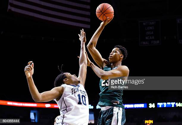 Deyonta Davis of the Michigan State Spartans shoots the ball against the defense of Brandon Taylor of the Penn State Nittany Lions during the second...