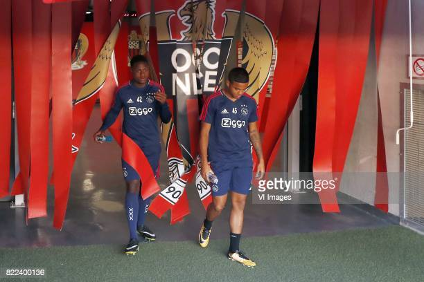 Deyovaisio Zeefuik of Ajax Justin Kluivert of Ajax during a training session prior to the third round qualifying first leg match between OGC Nice and...