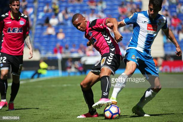 Deyverson and Marc Roca during the match between RCD Espanyol and Deportivo Alaves on April 08 2017