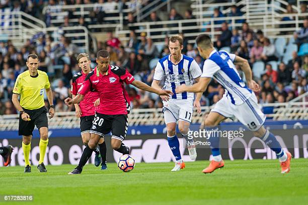 Deyverson of Alaves duels for the ball with Zurutuza of Real Sociedad during the Spanish league football match between Real Sociedad and Betis at the...