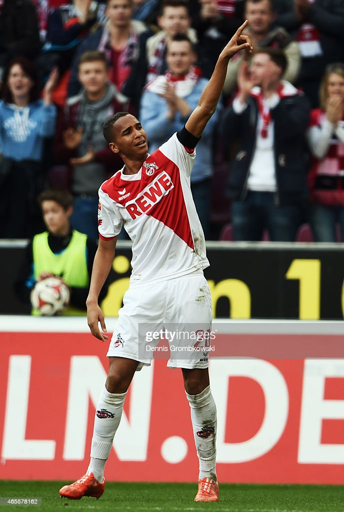 Deyverson of Koeln celebrates his team's first goal during the Bundesliga match between 1. FC Koeln and Eintracht Frankfurt at RheinEnergieStadion on March 8, 2015 in Cologne, Germany.