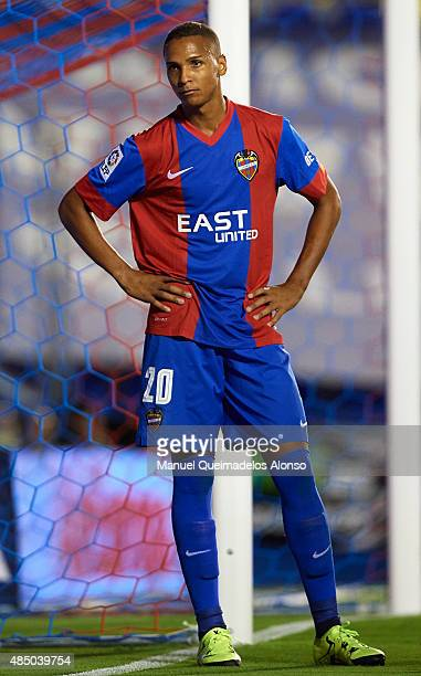 Deyverson of Levante looks on during the La Liga match between Levante UD and Real Club Celta de Vigo at Ciutat de Valencia Stadium on August 23 2015...