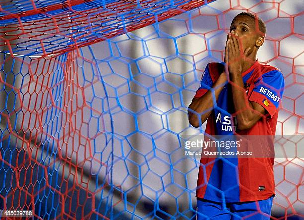 Deyverson of Levante reacts as he fails to score during the La Liga match between Levante UD and Real Club Celta de Vigo at Ciutat de Valencia...