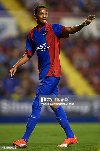 Deyverson of Levante reacts during a Pre Season Friendly match between Levante UD and Villarreal CF at Ciutat de Valencia Stadium on August 6 2015 in...