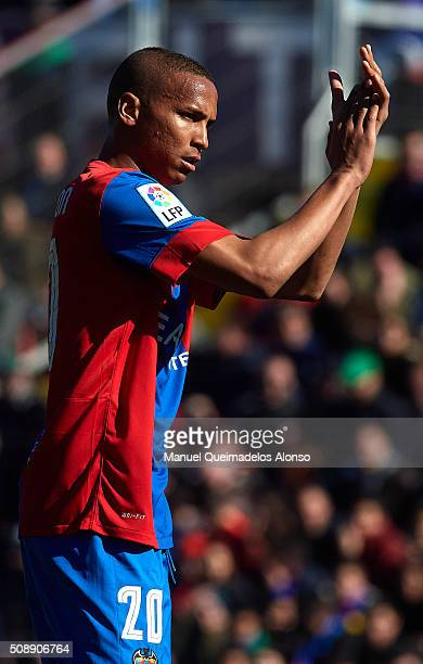 Deyverson of Levante reacts during the La Liga match between Levante UD and FC Barcelona at Ciutat de Valencia on February 07 2016 in Valencia Spain