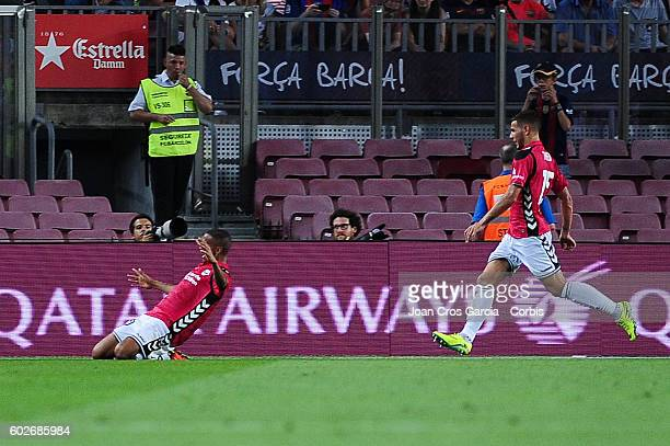 Deyverson Santos of Deportivo Alavés celebrates his goal during the Spanish League match between FC Barcelona vs Deportivo Alavés at Nou Camp on...